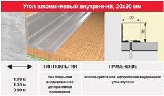 Угол внутренний 20*20 мм, 1.80м цвет: алюминий