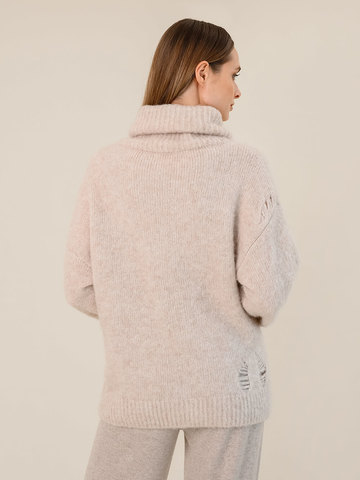 Женский свитер бежевого цвета из шерсти - фото 4