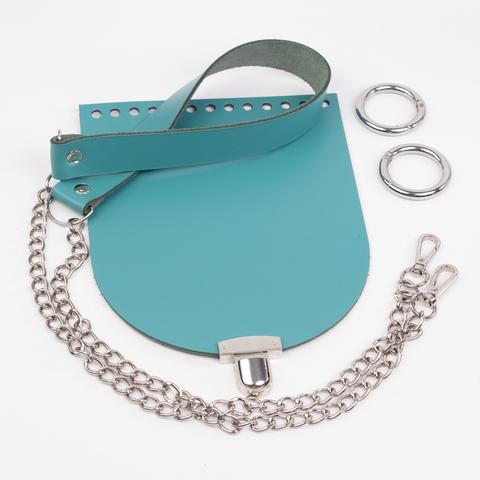 """Комплект для сумочки Орео  """"Морская волна"""". Ручка с цепочкой и замок """"N12"""""""