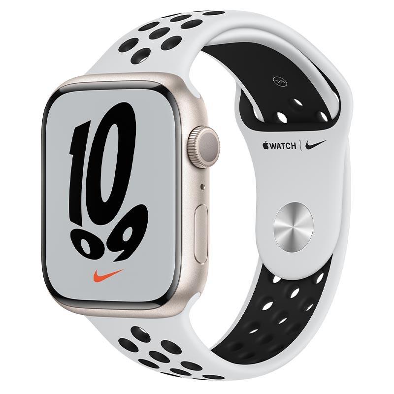Apple Watch Nike Series 7, GPS, 45 мм, корпус из алюминия цвета «сияющая звезда», спортивный ремешок Nike цвета «чистая платина/чёрный»