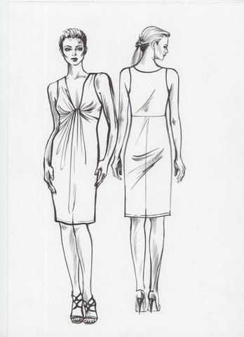 Выкройка платья с драпировкой лифа