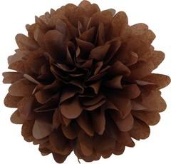 Помпон из бумаги 30 см коричневый