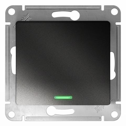 Выключатель одноклавишный с подсветкой, 10АХ. Цвет Антрацит. Schneider Electric Glossa. GSL000713