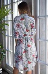 Рубашка-платье с поясом Миа-Миа цветы и полоска