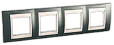 Рамка на 4 поста. Цвет Шампань/Белый. Schneider electric Unica Хамелеон. MGU6.008.824