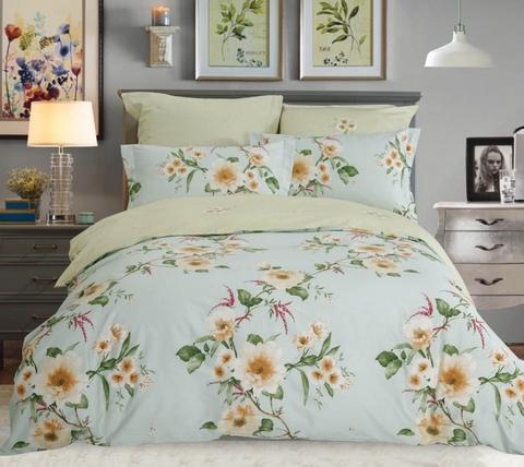 Сатиновое постельное бельё  1,5 спальное Сайлид  В-196