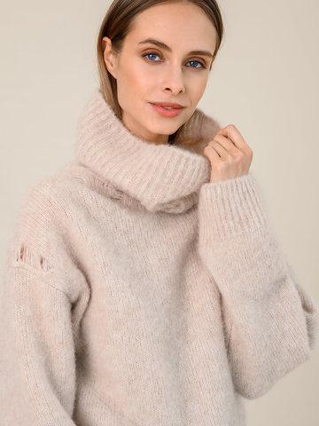 Женский свитер бежевого цвета из шерсти - фото 3
