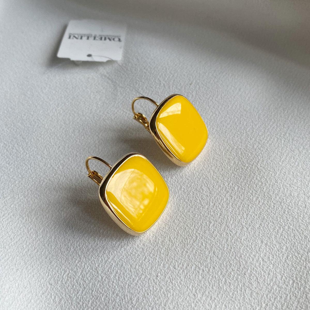 Серьги Квадраты на петлях, эмаль (желтый)