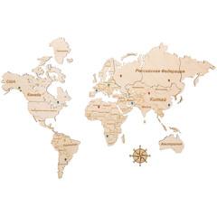 Карта Мира из дерева White фото 1