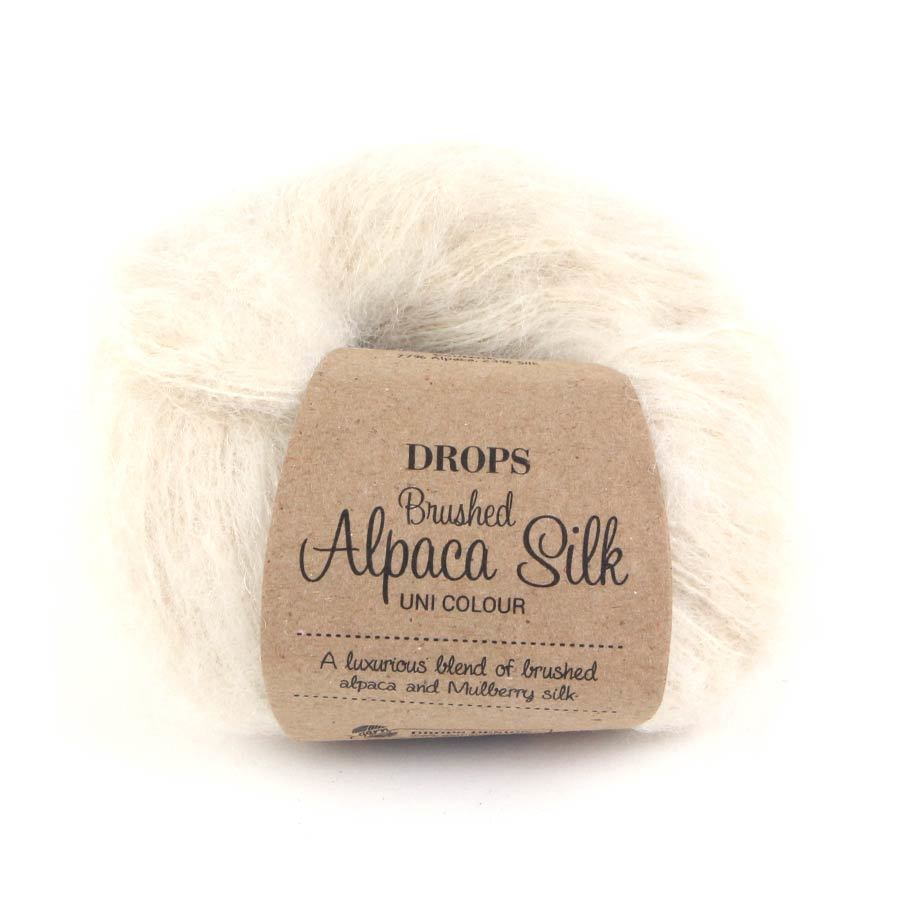 Пряжа Drops Brushed Alpaca Silk 01 молочный