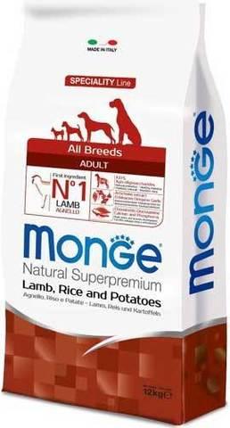 15 кг. MONGE Сухой корм для собак с ягненком, рисом и картофелем Dog Speciality Adult
