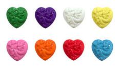 Пуговицы пластиковые Сердце с орнаментом, набор 9 шт.