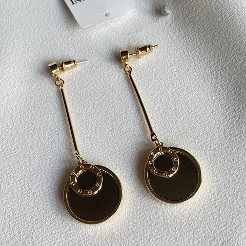 Серьги с зеркальными круглыми подвесками (золотистый)