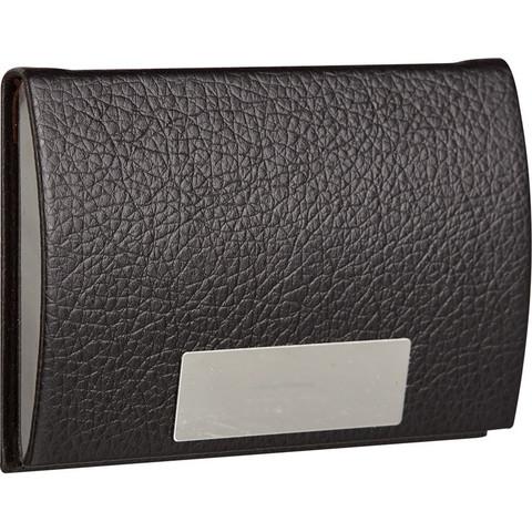 Визитница карманная на 20 визиток из искусственной кожи черного цвета (80104)