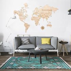 Карта Мира из дерева White фото в интерьере