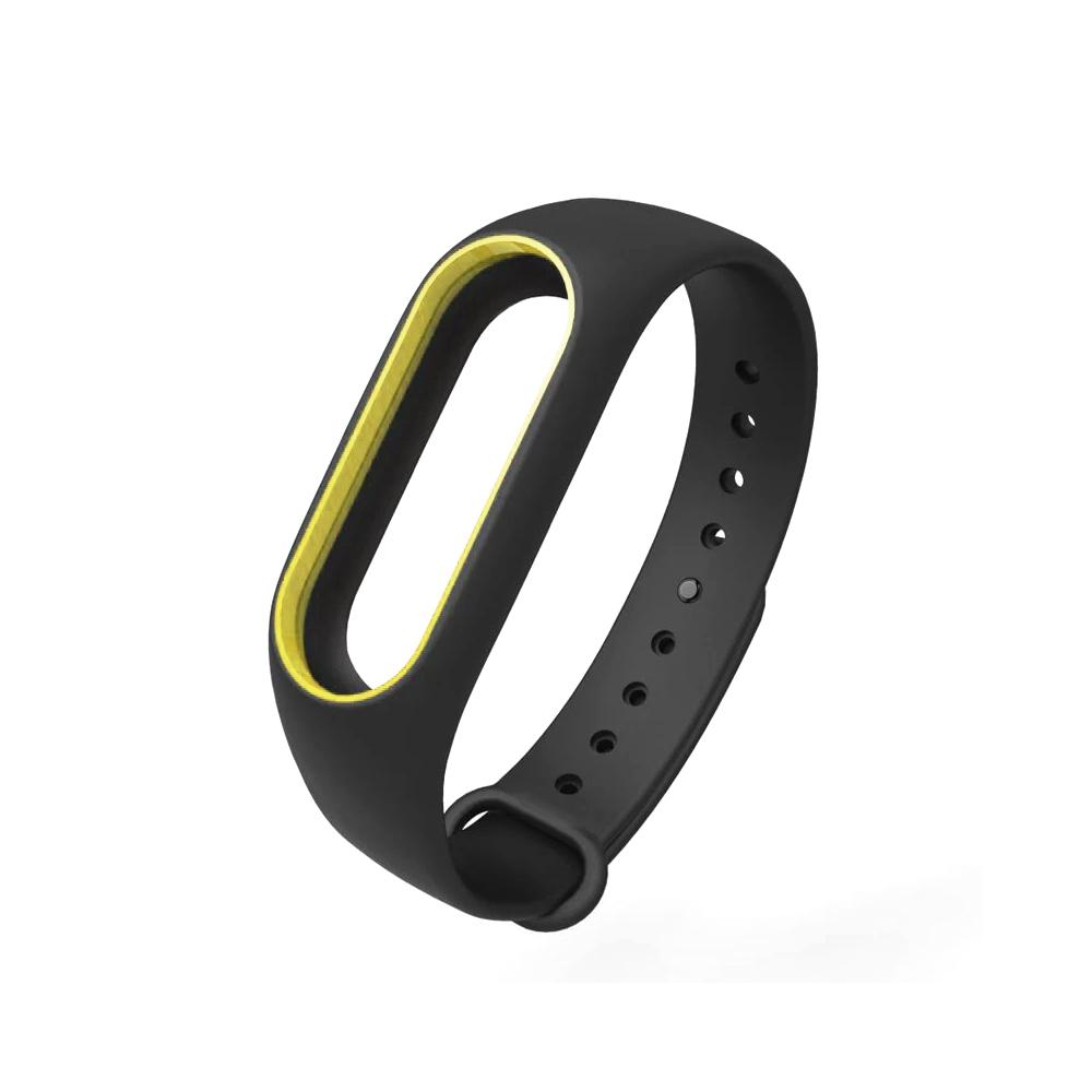 Силиконовый ремешок для Xiaomi Mi Band 2 (черный с желтым)