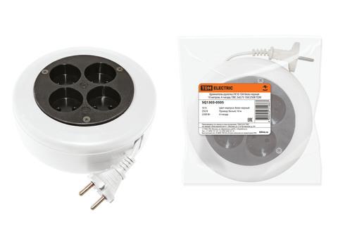 Удлинитель-рулетка УХ10-104 бело-черная 10 метров, 4 гнезда, ПВС 2х0,75 10А/250В TDM