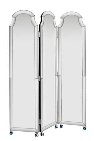 KFC799 Ширма зеркальная на колесах 3 полотна 1810х1260х25