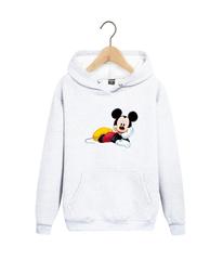 Толстовка белая с капюшоном (худи, кенгуру) и принтом Микки Маус (Mickey Mouse) 001