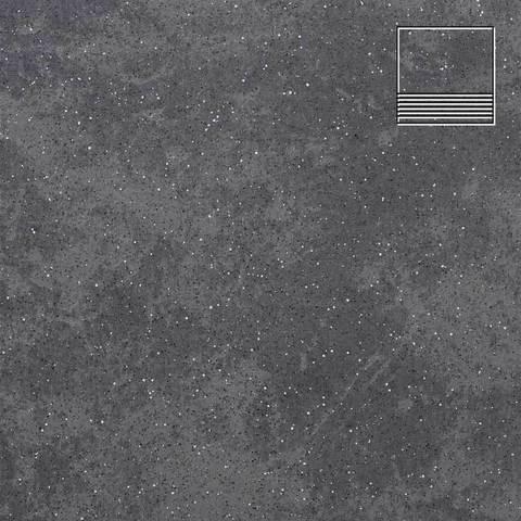Stroeher - Keraplatte Roccia 845 nero 300x294x10 артикул 8131 - Клинкерная ступень с насечками без угла