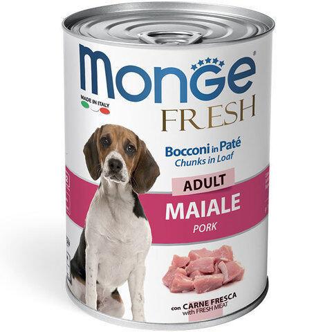 Купить мясной рулет Monge Fresh Chunks Adult with Pork с свининой для взрослых собак всех пород 400 гр