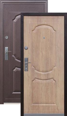Дверь входная Кайзер Ель карпатская/комби, 2 замка, 0,8 мм  металл, (медь+ель карпатская)