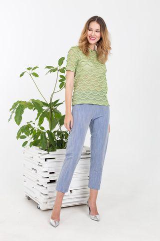 Фото укороченные брюки голубого цвета с преобладанием льна - Брюки А485-175 (1)
