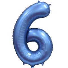 К Цифра, 6, Синий, Сатин, 34''/86 см, в упаковке 1 шт.