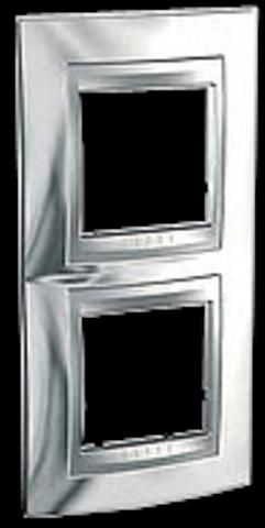 Рамка на 2 поста, вертикальная. Цвет Хром глянцевый-алюминий. Schneider electric Unica Top. MGU66.004V.010