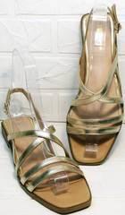 Классические сандалии на тонких ремешках женские Wollen M.20237D ZS Gold.