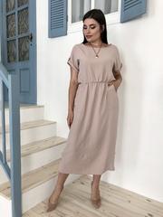 Аріадна. Однотонна гарна сукня великих розмірів. Бежевий