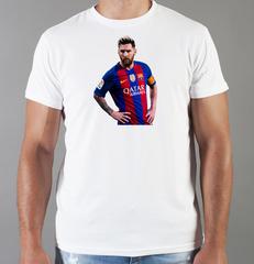 Футболка с принтом Лионель Месси (Lionel Messi) белая 006