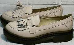 Бежевые кожаные туфли лоферы кожаные Markos S-6 Light Beige.