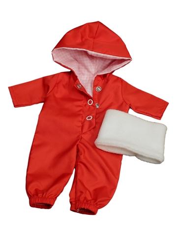 Комбинезон с баской - Красный. Одежда для кукол, пупсов и мягких игрушек.