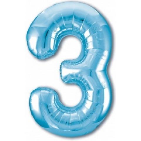Р Цифра, 3, Slim, Голубой, 40''/102 см