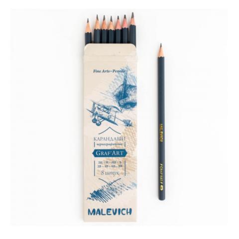 Набор чернографитных карандашей Малевичъ Graf'Art 8 шт (8B-2H)