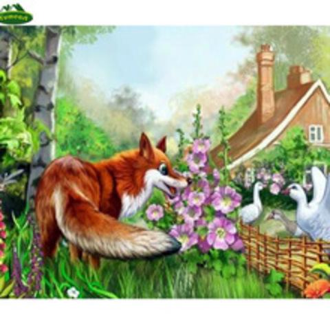 Алмазная Мозаика 40x50 Встреча лисы и голубя