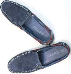 Стильные мокасины летние мужские туфли с перфорацией Faber 142213-7 Navy Blue.