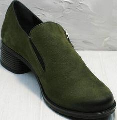 Кожаные удобные туфли на каблуках 5 см демисезонные женские Miss Rozella 503-08 Khaki.