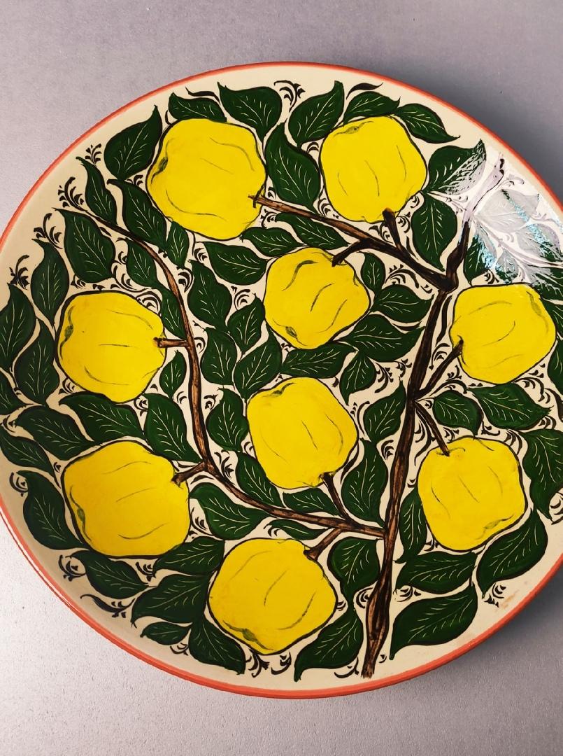 Посуда Ляган ручная роспись желтые яблоки 38 см UmrJLmcALv8.jpg