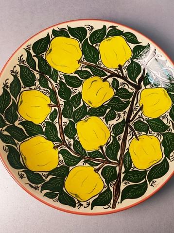 Ляган ручная роспись желтые яблоки 38 см