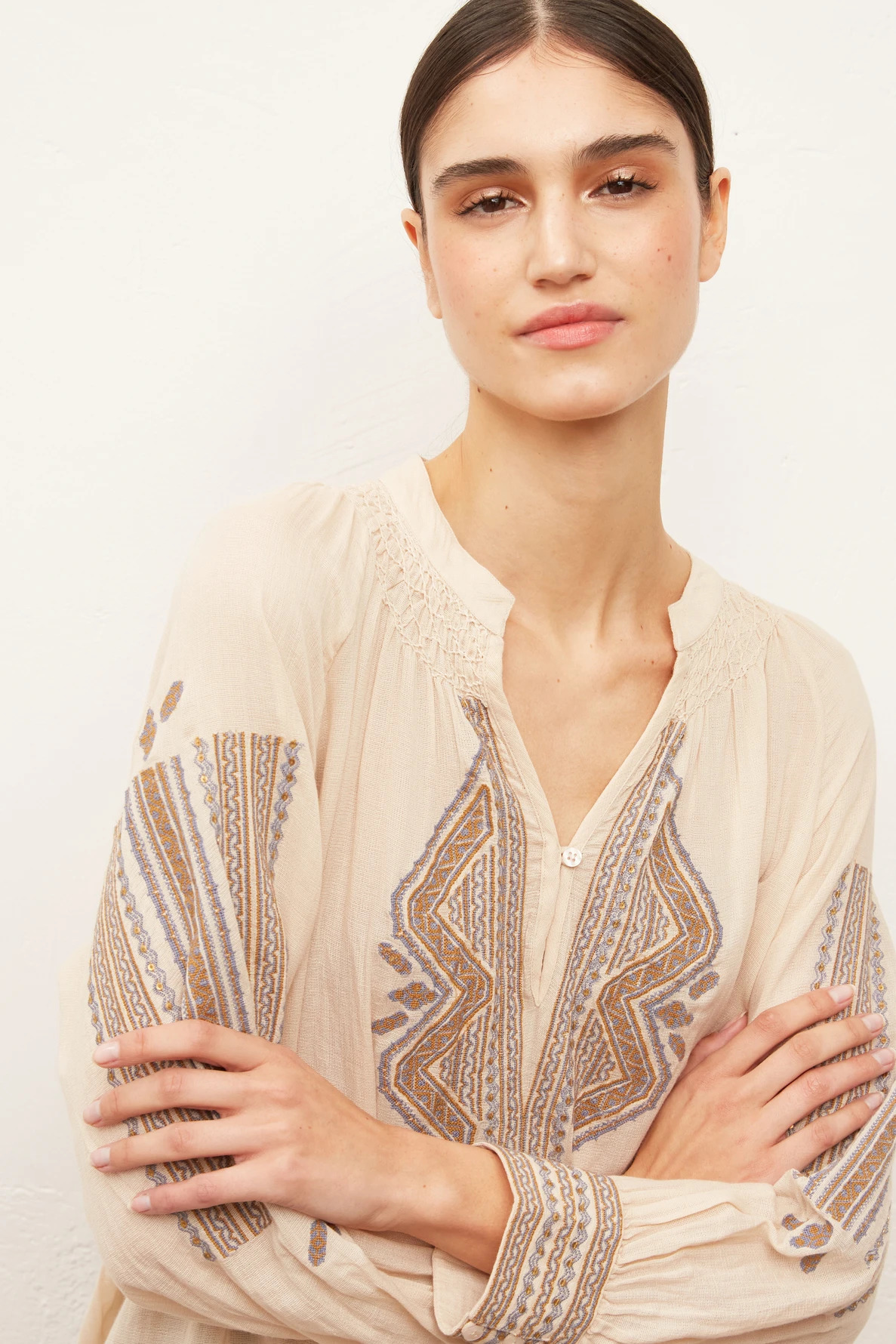 NOLA - Блуза из смесовой хлопковой вуали с вышивкой