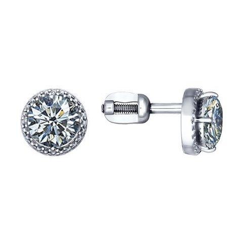 94020573 - Серьги-пусеты из серебра с фианитами