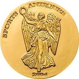 Золотая монета  2004 года выпуска Того 1000 франков Богиня Ника (вогнутая), AU-999, 1,24 гр. диам. 13,92 мм, тир. 5000 экз., proof