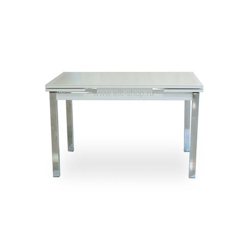 Стол ДАЛАСИ 2 КОЖА Е-20 белый / стекло белое / подстолье белое / опора №3 хром / 120(180)х80см