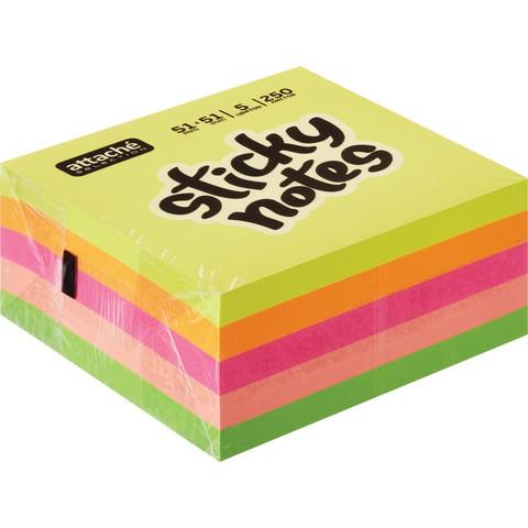 Стикеры Attache Selection 51х51 мм неоновые 5 цветов (1 блок, 250 листов)
