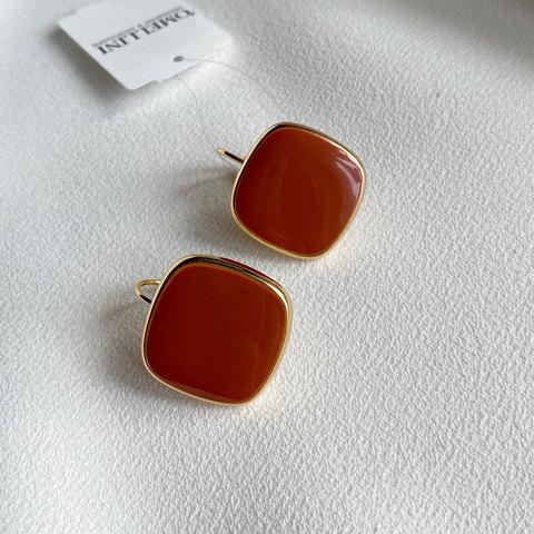 Серьги Квадраты на петлях, эмаль (оранжевый)
