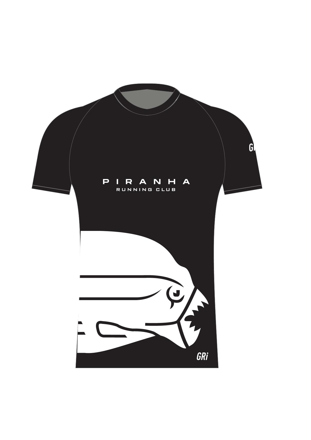 Футболка клубная, Gri Piranha, черная, мужская