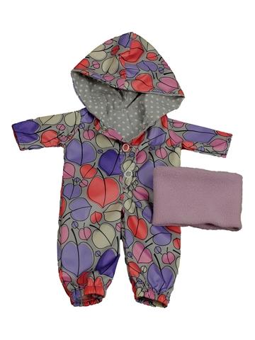 Комбинезон с баской - Сиреневый / листочки. Одежда для кукол, пупсов и мягких игрушек.