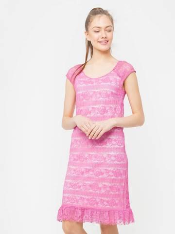 Фото розовое кружевное платье прямого кроя со скидкой - Платье З018-613 (1)